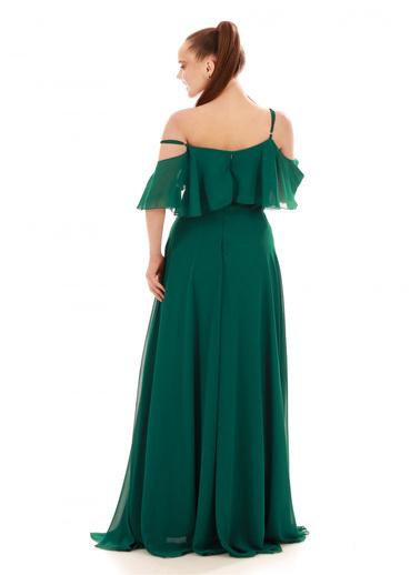 6ixty8ight Düşük Kollu Askılı Uzun Abiye Elbise Yeşil
